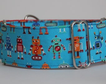 "Greyhound Blue Robots 2"" Martingale Collar"