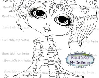 INSTANT DOWNLOAD Digital Digi Stamps Big Eye Big Head Dolls img169 Bestie By Sherri Baldy