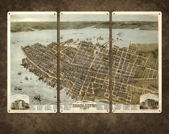 """Vintage Map of Charleston Metal Triptych 36x24"""" FREE SHIPPING"""