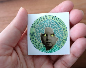 Neon Green And Yellow Dotty Vinyl Round Sticker Art, Vintage Style Collage Reproduction Of A Baby Girl Altered With Fluorescent Pens