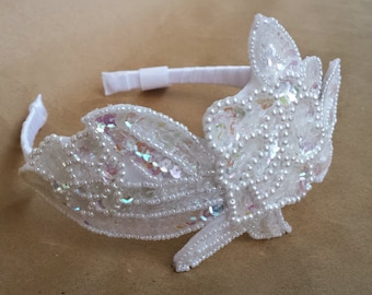 Flower Girl Headband; White Sequin and Pearl Flower Girl Headband; White Flower Wedding Headband; Flower Girl Sequin Headband