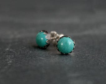 Turquoise Sterling Silver Stud Earrings 6mm Cabochon Round Natural Turquoise Gemstone Post Earrings Turquoise Gem Jewelry Silver Studs Posts