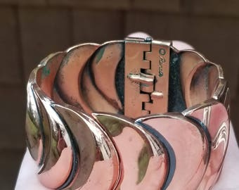 Vintage Renoir Copper Vortex Bracelet, Hinged Cuff with Overlapping Crescent Detail. Signed.