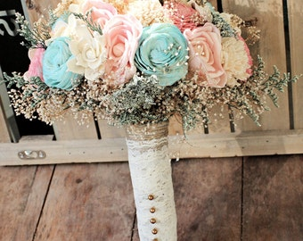 Romantic Wedding Bouquet -Pink and Mint Collection, Aqua Custom Colors Keepsake Alternative Bouquet, Sola Bouquet, Rustic Wedding