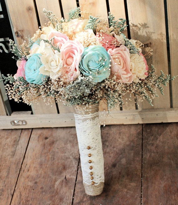 Rustic Wedding Ideas On A Budget: Romantic Wedding Bouquet Pink And Mint Collection Aqua