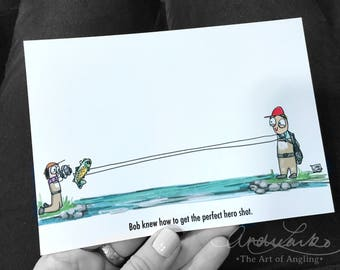 "Bob Fly Fishing Cartoon Series Hero Shot Art Print 5""x7"""
