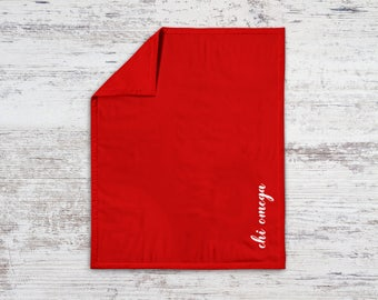 ChiO Chi Omega Script Sweatshirt Blanket Throw Greek Licensed Sorority Gift