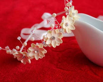 Ivory flower girl headband with Swarovski Crystals.