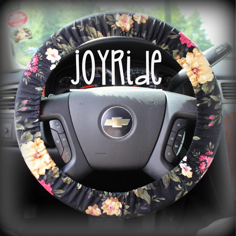 Steering Wheel Cover Black Floral Cute Car Accessorries