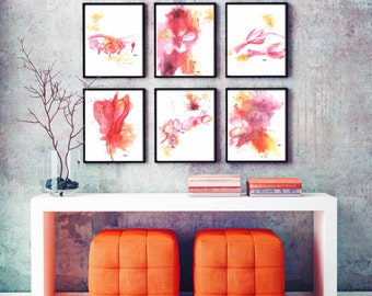 floral print, abstract modern art, abstract art home decor, wall art, gallery wall prints floral art print Watercolor Painting