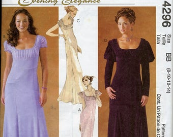 Misses & Petites Long Gown with Gathered Yoke, Flared Skirt, McCall's 4296 - Size 8, 10, 12, 14 - Evening Elegance