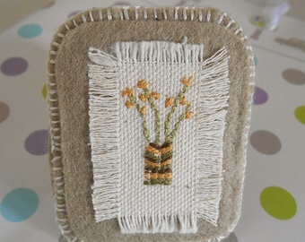 Brooch, Hand Embroidered, Flowers in Vase, Brown, Cream  & Mustard, Gift for Mum, Gift for Grandma, Calico and Felt, Stitched, Shabby Chic