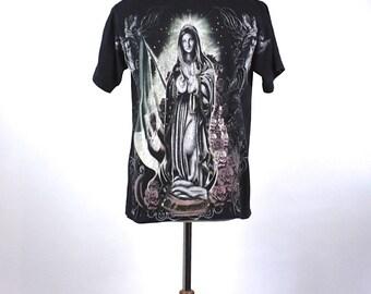 Old School Cholo T-Shirt, Nuestra Señora de Guadalupe, 100% Cotton