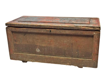 Vintage WOOD TOOL CHEST trunk primitive country carpenter box industrial wooden toy rustic saw carrier handmade man cave old red painted