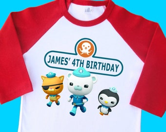 Octonauts Birthday Shirt. Personalized Birthday Raglan with Name and Age. 1st 2nd 3rd 4th 5th 6th 7th 8th 9th 10th Birthday T Shirt. (35017)