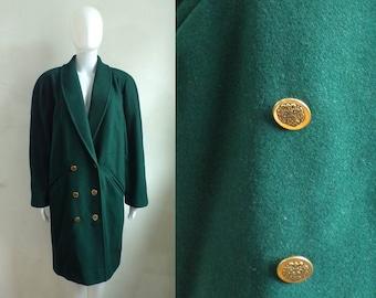 felted wool coat size medium, 80s green double breasted wool coat, 1980s minimalist womens coat, military coat