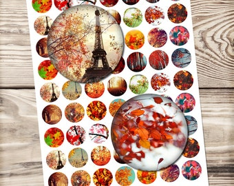 Autumn digital collage sheet - printable download - for pendants, magnets - autumn leaves  - 300 DPI