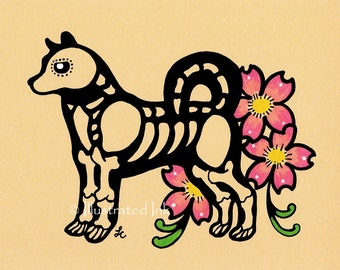 Dia de los Muertos Dog AKITA Day of the Dead Art Print 5 x 7, 8 x 10 or 11 x 14 - Choose your own words - Donation to Shelter
