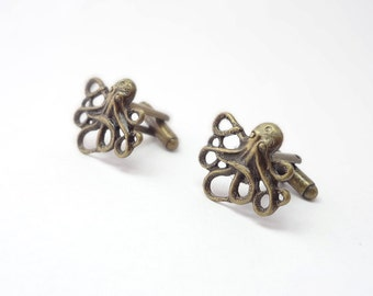 Steampunk Cuff Links Made With Cthulhu Effigy
