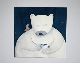 Children's art, original watercolor painting, square art, matted, whimsical, bear and bird, tea drinker, negative painting, nursery, simple