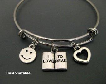 I Love to Read Bracelet / Book Bangle  / Love to Read Bangle / School Bracelet / Expandable Bangle / Book Charm / Adjustable Charm Bracelet