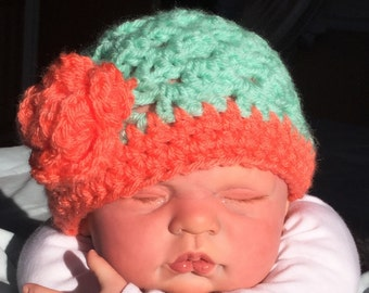 Flowered Baby  Crochet Hat. photography prop, girls hat, crochet hat
