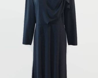 Black Vintage Lilli Ann Long Sleeve Dress 1980s