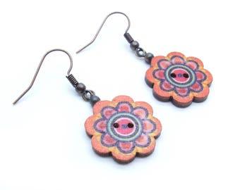Flower Mandala Wood Button Dangle Earrings