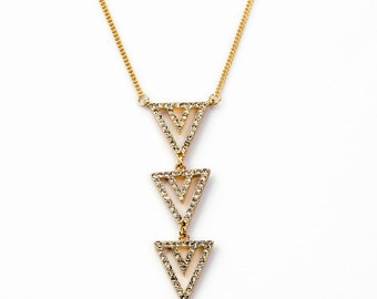 Triple Crystal Triangle Necklace