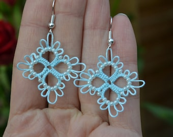 Tatted Lace Small Earrings in Pale Blue/Peach/Ivory/Burgundy colour with beads - Vera