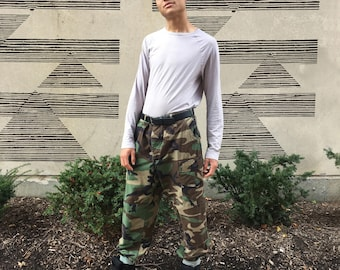 Vintage 1970's Mens Camouflage Cargo Pants