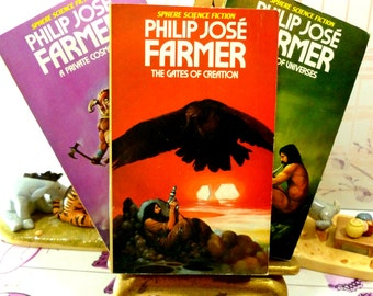 Philip Jose Farmer Vintage Sci Fi Paperback Books 1970s World of the Tiers Sphere Cult Fantasy