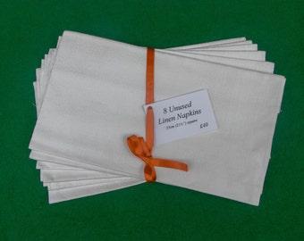 Set of 8 Unused Vintage Linen Napkins