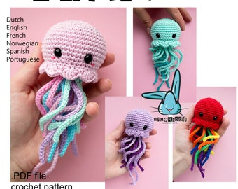Kawaii Jellyfish - amigurumi crochet  pattern. PDF file. Languages - English, French, Norwegian, Dutch, Spanish, Portuguese