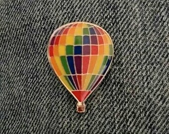 Rainbow Hot Air Balloon Pin