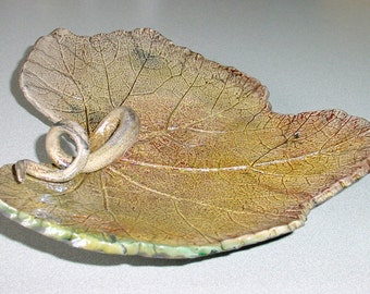 Raku Leaf Tray in Tan, Burgundy and Green