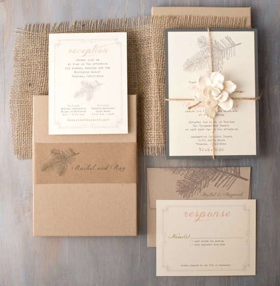 Burlap Boxed Wedding Invitations WoodlandEnchanted Forest
