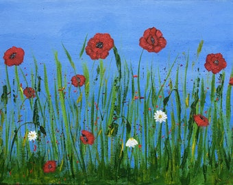 Poppies original acrylic painting, on canvas board, supplied unframed. great gift, floral art, flowers painting, wall art, Scottish Art