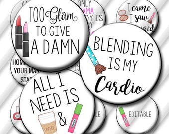 Makeup Artist Coffee and Makeup Bottle Cap Images 1 inch circle image sheet Digital Collage Sheet INSTANT DOWNLOAD Printable Cupcake Top