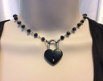 AB Faceted Black Crystal Bead Linked Chain and Working Black Heart Padlock submissive Day collar, varying lengths