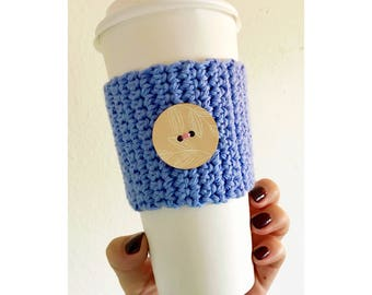 Knitted Coffee Cozy | Wooden Button | Light Blue Cozy | Reusable Coffee Cozy