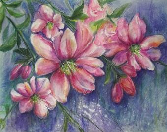 la peinture «les fleurs romantiques»