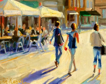 ITALIAN SIDEWALK, Art Print of Parma, Italy, sunny street scene