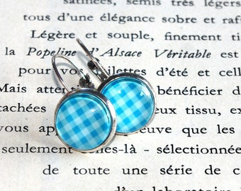 Earrings turquoise gingham and double ring set