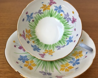 Royal Grafton Vintage Teacup and Saucer, Hand Painted Green Grass Pink Yellow Purple Blue Flower Tea Cup and Saucer, English China