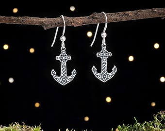 Sterling Silver Celtic Anchor Earrings - Small, Double Sided
