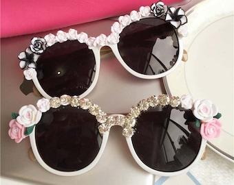 Colorful Summmer Floral Sunglasses Rhinestone Sunglasses