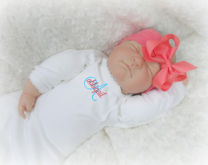 Coral and White Personalized Coming Home Baby Gown for Girl, Coral Peach Monogrammed Baby Girl Gown and Matching Pink Headband