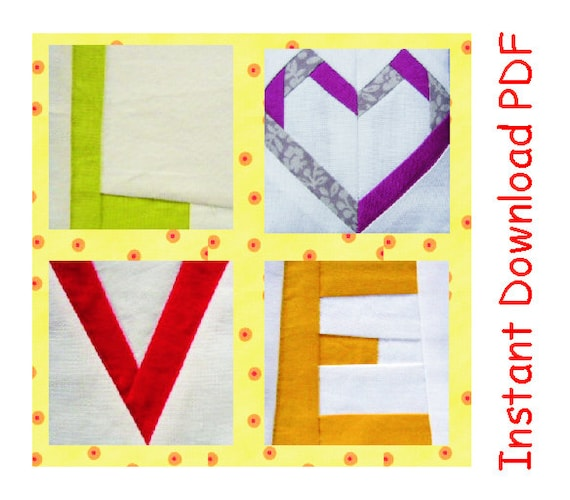 Love Heart Quilt Blocks Pattern Paper Pieced Letters Instant
