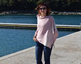 Womens  Knit Blush Pink poncho  Travel Tunic Plus Size.Boat Neck Light Wool Cape .Spring Wrap Resort Wear